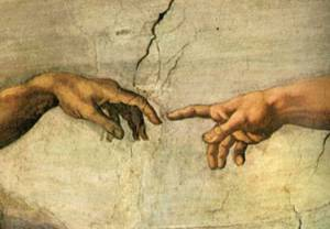 The Creation of Adam [Humanity], Michelangelo, segment of The Sistine Chapel, c. 1512