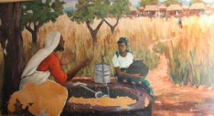 """Women at the Well"", part of a mural by Emmanuel Nsama, Zambia"