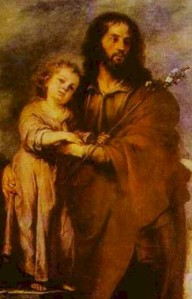 """Joseph With Infant Christ"", Bartoleme' Estaban Murillo, 1665-1666, Museum of Fine Arts, Sevilla, Spain"