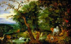 """The Garden of Eden with the Temptation in the Background"", by Jan Brueghel the elder, c. 1600, (Victoria and Albert Museum, London)"