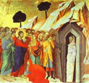 The Raising of Lazarus, Duccio de Buoninsegna, 1308-11