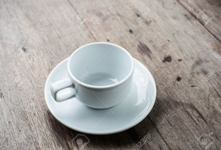 empty cup of coffee on wood background
